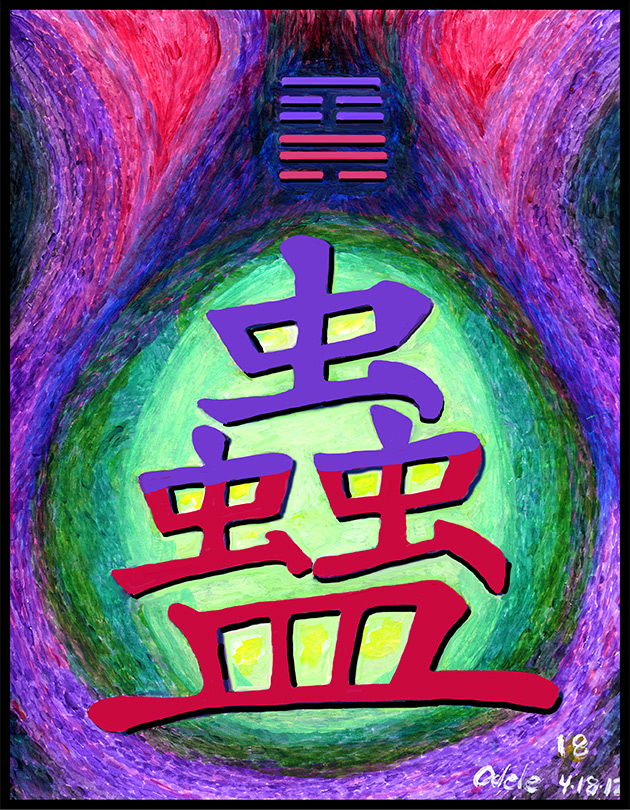 Painting inspired by Chinese Character for hexagram 18.