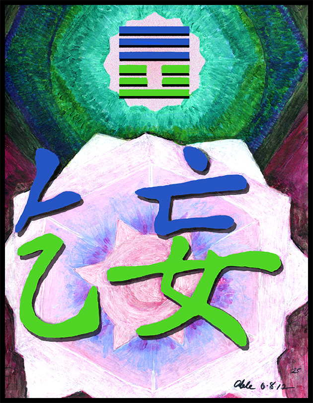 Paintings inspired by Chinese characgter for I Ching  hexagram 25