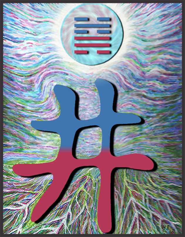 Painting inspired by the Chinese character for I Ching hexagram 48, The Well.