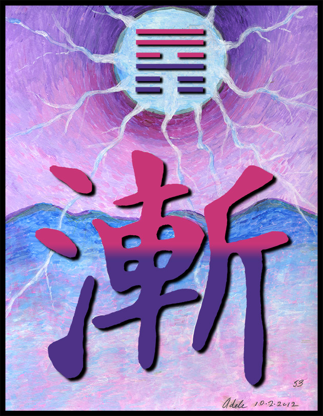 Painting inspired by the Chinese character for I Ching hexagram 53, Gradual Progress